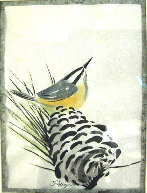 nuthatch on pine cone painting