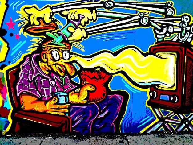 crazy nightmare TV graffiti art
